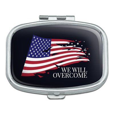 We Will Overcome Flag Stars USA America Rectangle Pill Case Trinket Gift Box