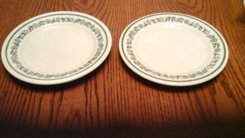 Buffalo china vtg restaurant ware Saucer - Kenmore Pattern Green floral Band