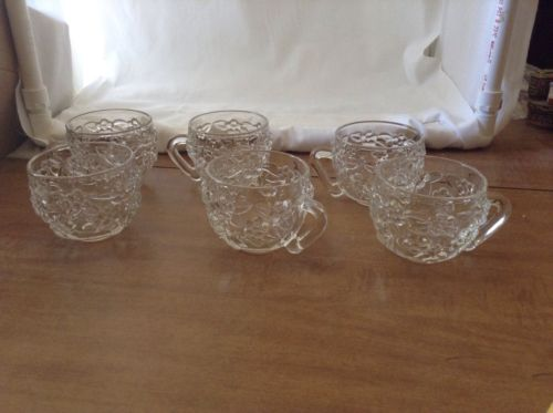 Set of Six Clear Glass Punch or Tea Cups with Raised Flower Design