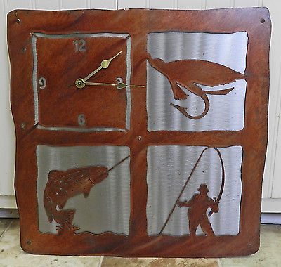 FABULOUS RUSTY/RUSTIC METAL FISHING THEME WALL CLOCK!! LASER CUT? FISH/FISHERMAN