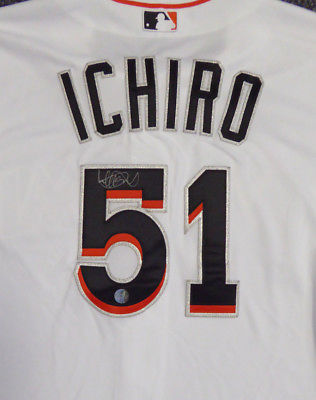 MARLINS ICHIRO SUZUKI AUTOGRAPHED MAJESTIC AUTHENTIC COOL BASE JERSEY IS HOLO