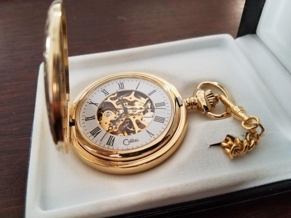 COLIBRI SWISS MADE SKELETON GOLDTONE POCKETWATCH WITH CHAIN NEW IN BOX