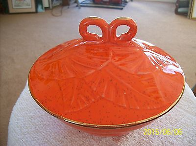 USA Pottery Vintage Orange Tureen Covered Casserole Dish California Pottery ?