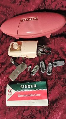 Vintage 1960's Singer Buttonholer Pink Case with Instruction Book