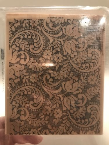 Stampin up victorian lace paisley floral Background Wood Paper Crafting Card