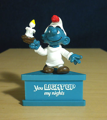 Smurf A Gram Light Up My Nights Candle Vintage Smurfs Figure PVC Stand Figurine