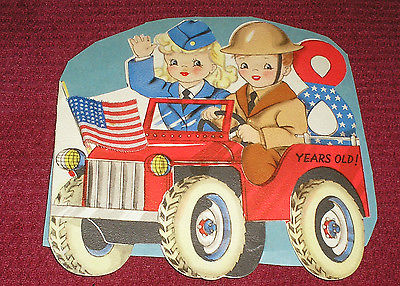 Vintage 1940s Hallmark WWII Patriotic Soldier Jeep Flag Boy Girl Greeting Card