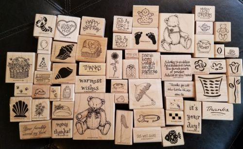 Large Lot of 55 Rubber Stamps with Wooden Backing for Crafting & Scrapbooking!!!
