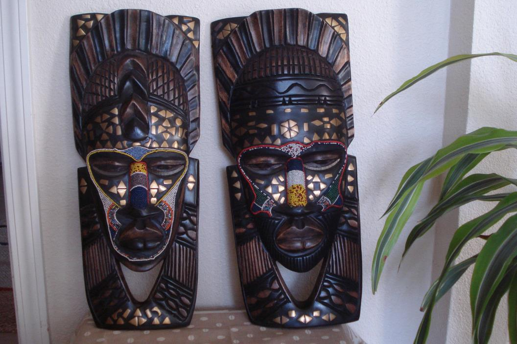 2 Large African Tribal Masks Handcrafted Carved Wood w/ Inlaid Metal Beaded 20