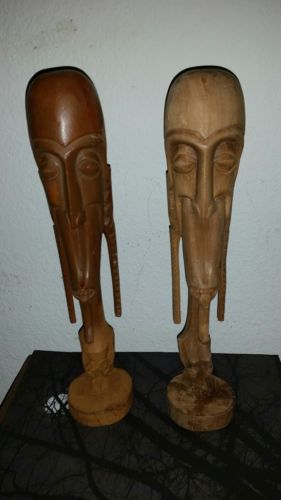 Antique 2 African Figurine Statues Wooden Carved Decoration