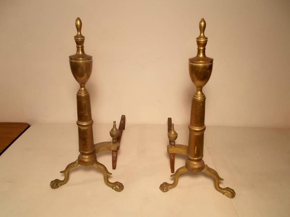 Pair of American Country style brass andirons with Urn Tops Heavy Very Nice!
