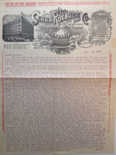 SEARS,ROEBUCK & CO.1898 TYPED LETTERHEAD BICYCLE VENDOR CATALOG W/ORDER FORM