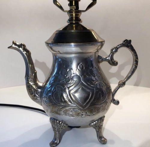 Silver Tone Teapot Lamp