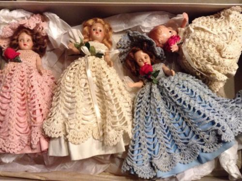 Vintage Crochet Bride Bridesmaid Flower Girl Pink Blue White Wedding Dress doll