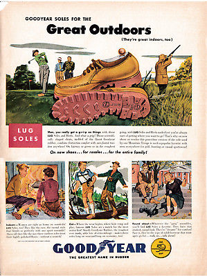 1948 Goodyear Lug Shoes-Tire Tread Soles-Golfing-Original 10.5 x 13.5 MagazineAd