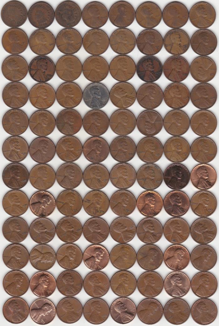 221 Different USA 1c Coins - 1906 to 2017D