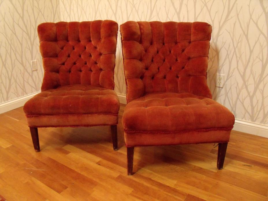 Pair Slipper Armless Tufted Chairs Hollywood Regency Velvet MCM Billy Haines Era