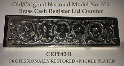 OLD Brass Nat'l. Mdl 332 Cash Register Lid COUNTER - Professionally Restored