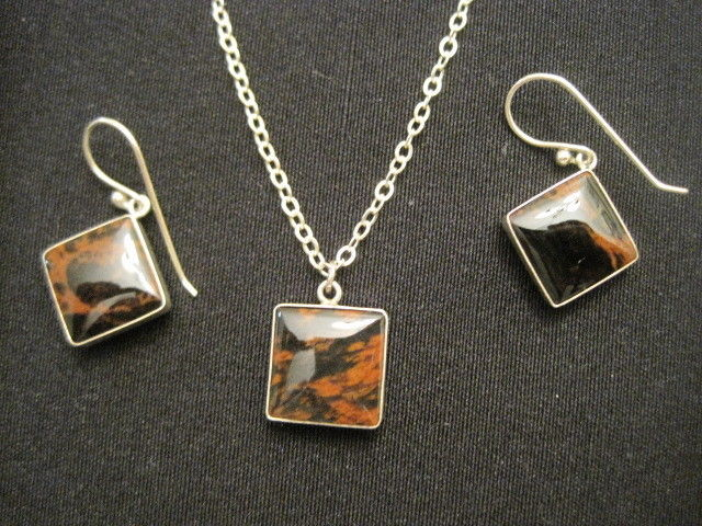 925 Sterling Silver Polished Brown Jasper Necklace and Matching Dangle Earrings