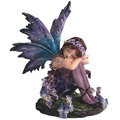 SS-G-91587 Young Outdoor Statues Blue And Purple Fairy Sleeping In Garden Small