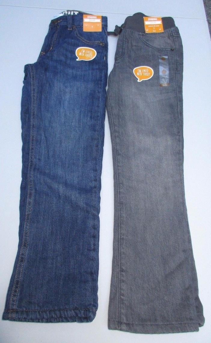 Gymboree Boys Size 7 Pants Fleece & Jersey-Lined Straight Denim Jeans NWT