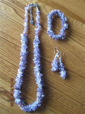 Incredible Natural Amethyst Chip Bead Necklace Bracelet & Dangly Earrings Parure