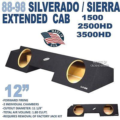 Chevy silverado extended cab sub box subwoofer enclosure Ground-Shaker 1988-1998