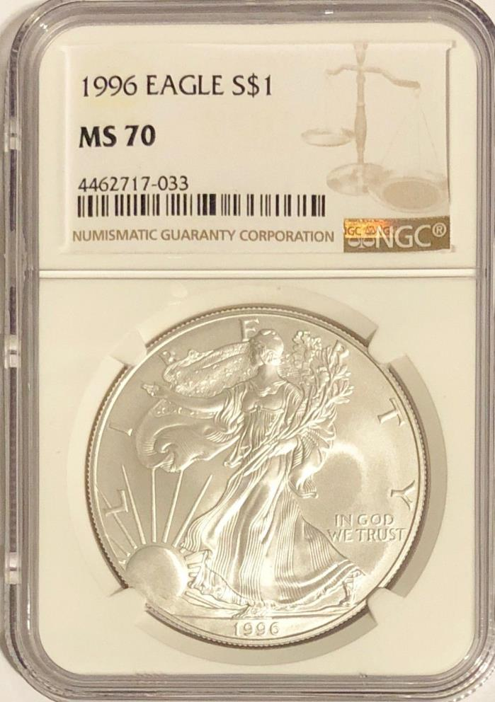 1996 NGC MS70 SILVER AMERICAN EAGLE MINT STATE 1 OZ .999 BULLION