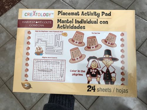 Thanksgiving Activity Pad Placemat for Kids 24 Sheets Creatolgy Age 3+