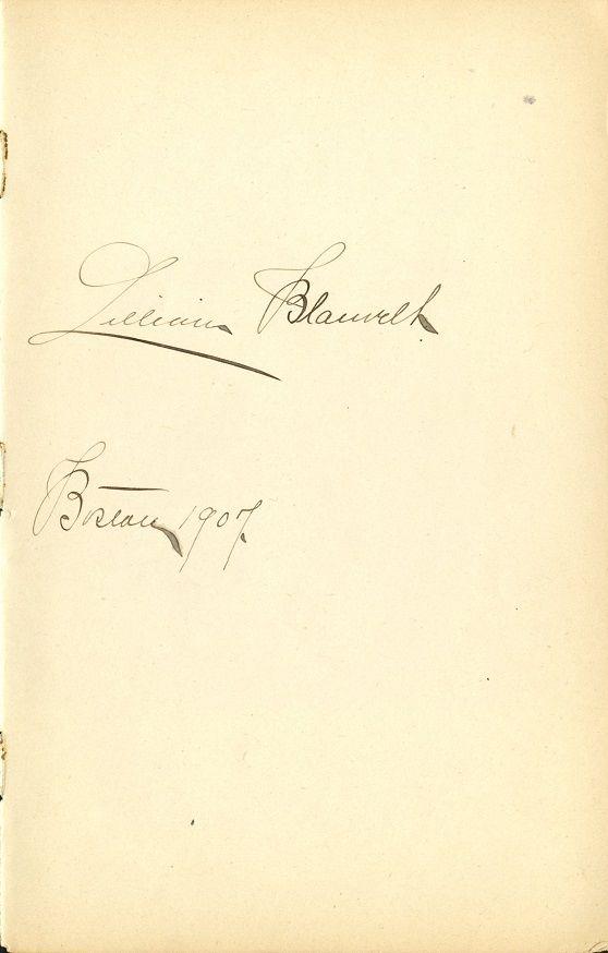 LILLIAN BLAUVELT Autograph - 1907