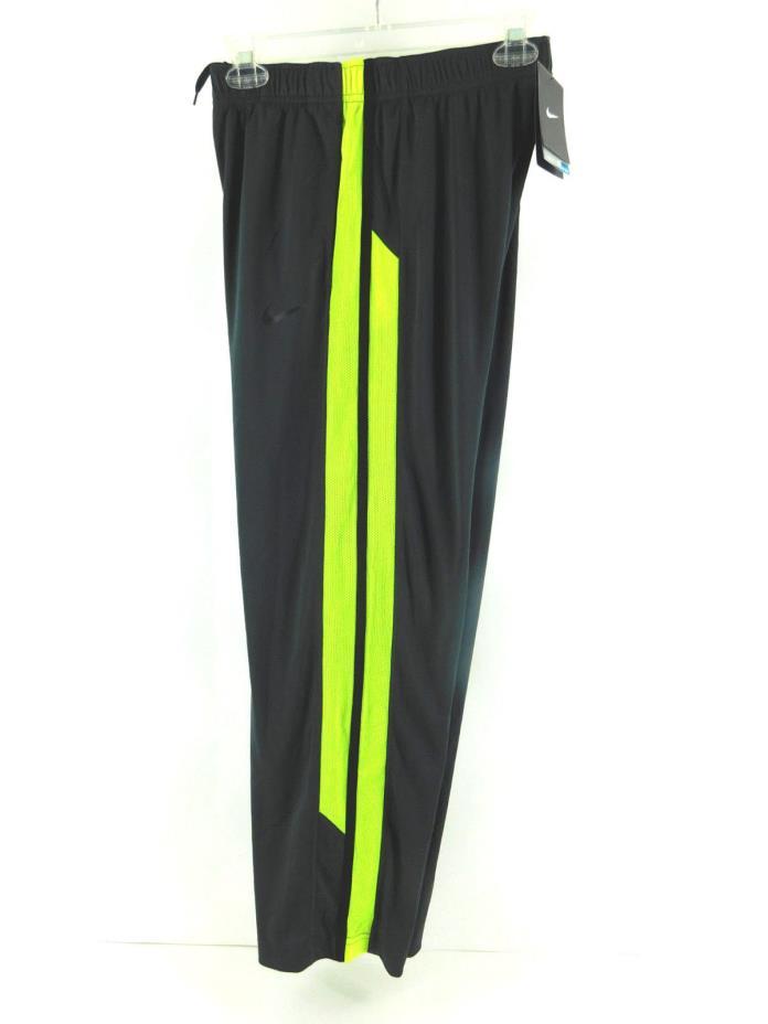 Nike DRI FIT Boys Essentials Training Pants Gray/ Volt Yellow Strip 823907 061 M