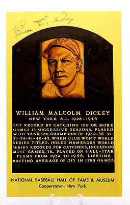 BILL DICKEY Signed HOF Plaque Yellow Card Postcard Index Baseball Autograph