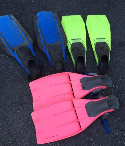 LOT OF 3 SCUBA FINS, DACOR Medium , US Divers Blades Lg, Pacifica 10-11