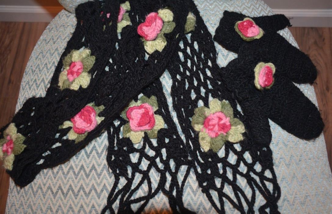 Girls Knitted Fancy Scarf and Mitens Set, Black with Colorful Flowers