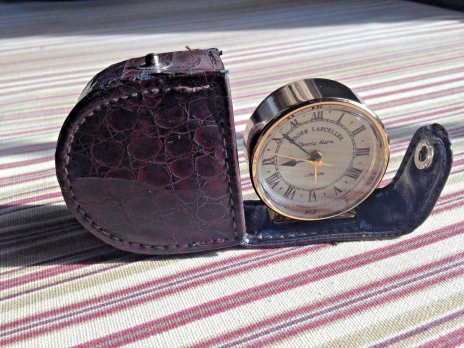 Roger Lascelles - Clocks of London - Clock in Crocodile Skin Case