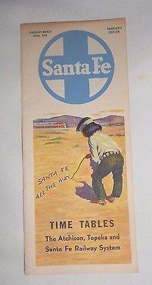Vtg Brochure 1949 Time Tables Atchison Topeka Santa Fe Railway System Railroad