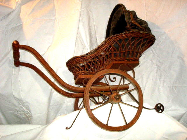 Antique Pram - Vintage Baby Doll Carriage / Stroller / Buggy - Clothe & Wicker