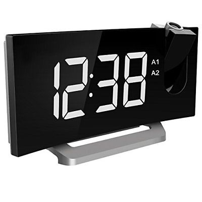 Mpow Projection Clock FM Radio Alarm Curved-Screen Digital 5'' LED Display with