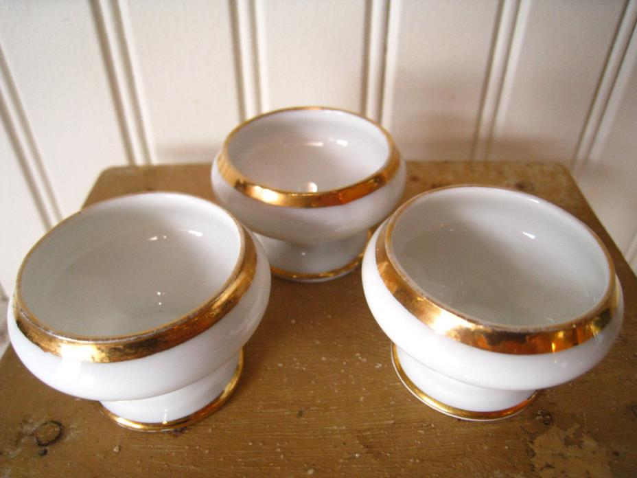 3 Antique/Vintage Open SALT CELLARS White China W/GoldTrim Made in Bavaria