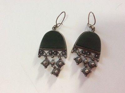 vintage soviet russian 925 silver nephrite earrings ring