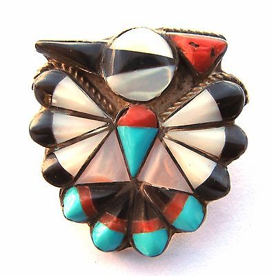 Cobblestone inlay thunderbird pendant and/or brooch, 5.9 grams, 1 1/8