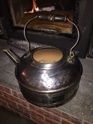 Antique Vintage Revere Ware Copper Chrome Nickel Plated Tea Kettle