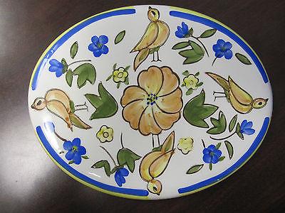 California Ceramics, decorative ceramic plate - birds & flowers