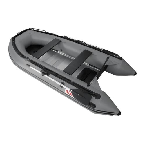 ALEKO Inflatable Fishing Boat With Aluminium Floor 4 Prs Sport Motor 10.5Ft Grey