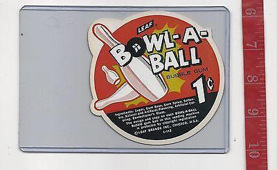 Vintage vending machine display 1c LEAF Bowl-a-ball gum card FREE SHIP