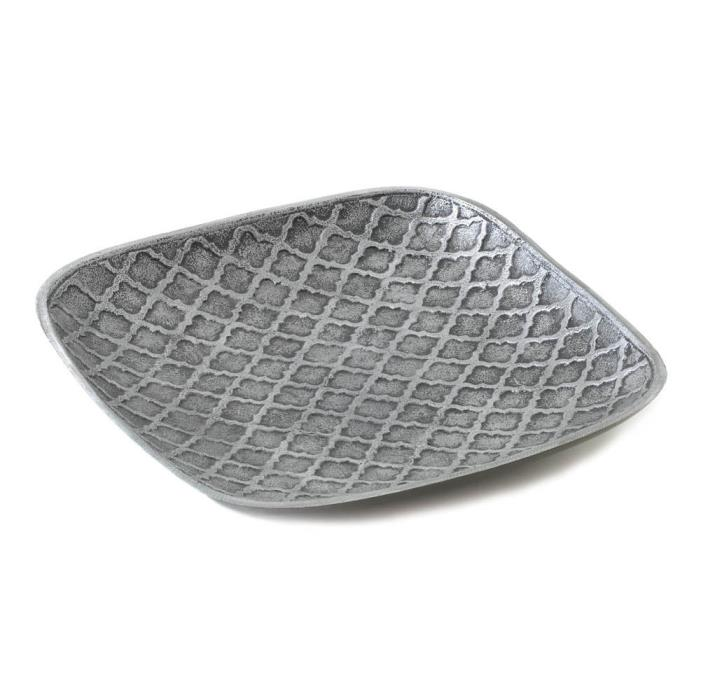 Trellis Stamped Square Dish Modern Decorative Plate Home Decor Elegant Sale New