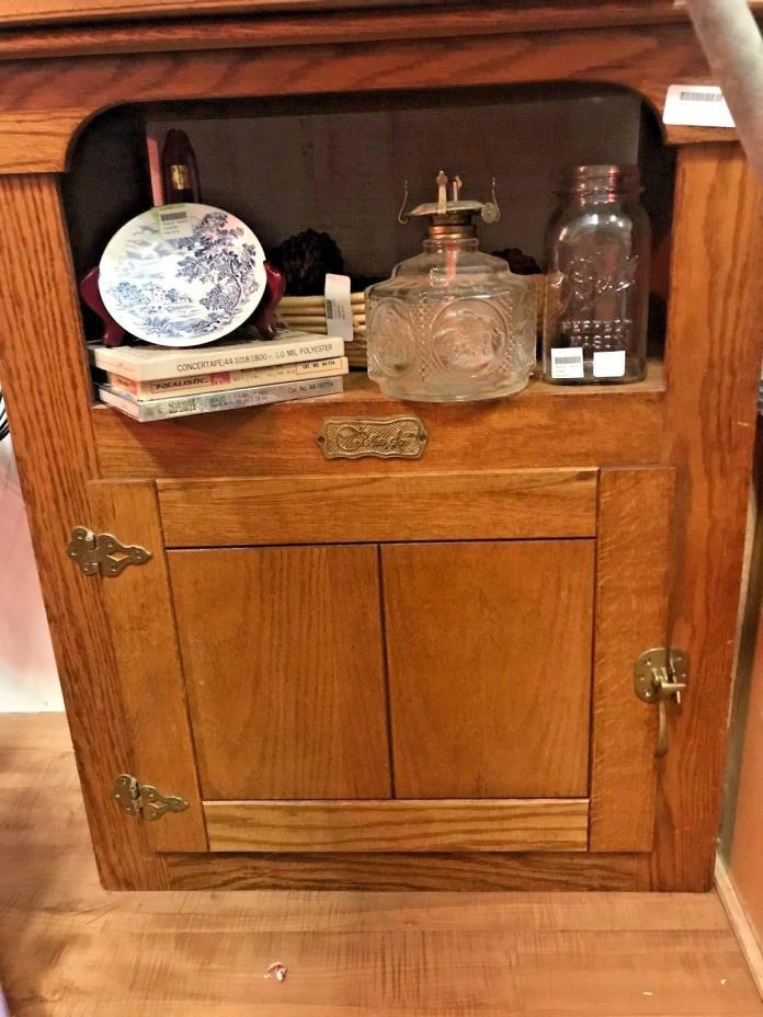 Vintage Polar Ice Box Cabinet End Side Table Solid Oak Brass Hardware Antique