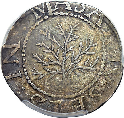 1652 OAK TREE SHILLING PCGS UNC UNCIRCULATED DETAILS, IN AT LEFT, SHARP DETAIL!