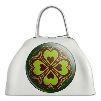 Four Leaf Clover Lucky White Metal Cowbell Cow Bell Instrument