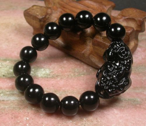 Black JADE Bead Dragon Pi Xiu Coin Bangle Feng Shui Bracelet